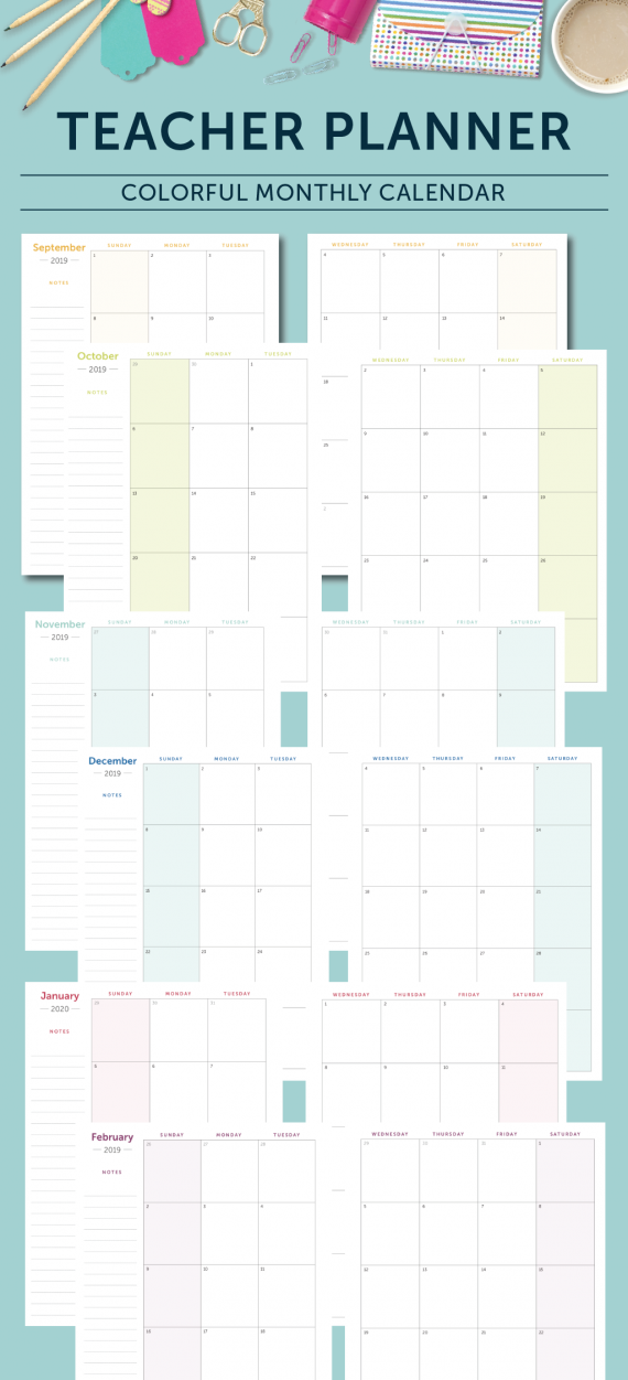 Teacher Planner - Monthly Pages
