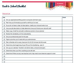 Back to School Checklist. And a Little Catching Up.